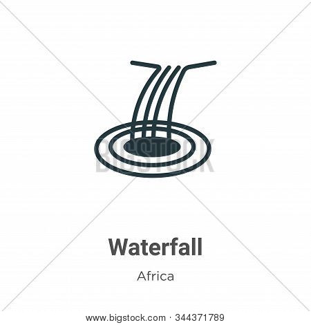 Waterfall icon isolated on white background from africa collection. Waterfall icon trendy and modern