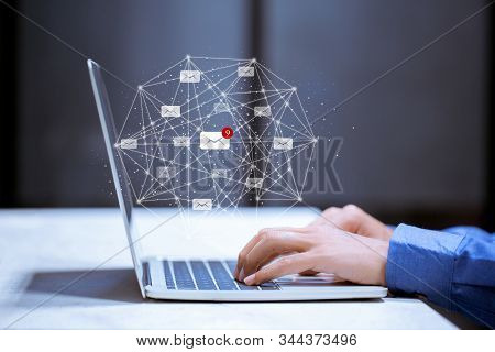 Business Using Laptop,with Email Icon,email Inbox Electronic Communication Graphics Concept.