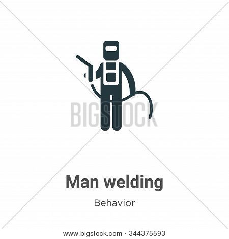 Man welding icon isolated on white background from behavior collection. Man welding icon trendy and