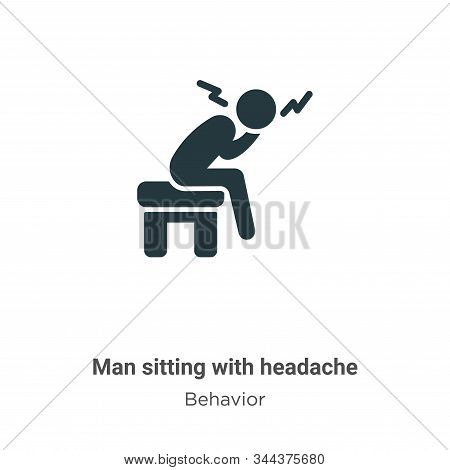 Man sitting with headache icon isolated on white background from behavior collection. Man sitting wi