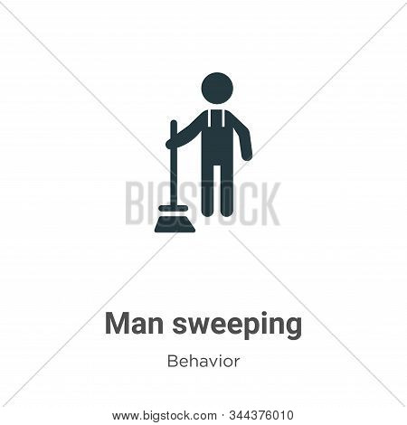 Man sweeping icon isolated on white background from behavior collection. Man sweeping icon trendy an
