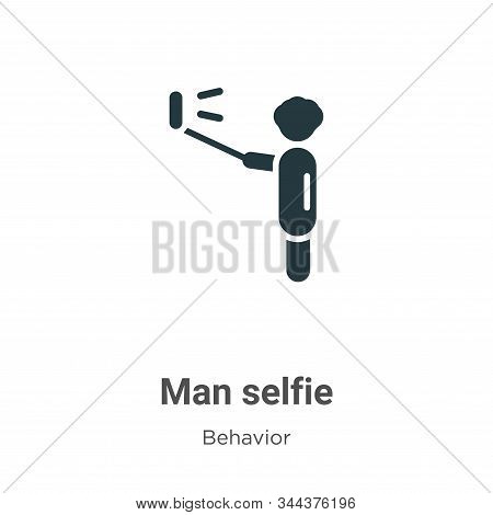 Man selfie icon isolated on white background from behavior collection. Man selfie icon trendy and mo