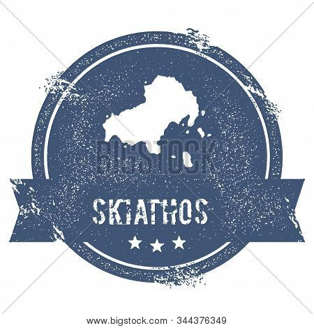 Skiathos Logo Sign. Travel Rubber Stamp With The Name And Map Of Island, Vector Illustration. Can Be
