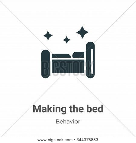 Making the bed icon isolated on white background from behavior collection. Making the bed icon trend