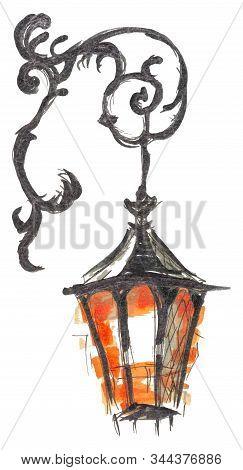 Burning Lantern Hand Drawn Marker Sketch Isolated On White Background Eps10 Vector Illustration. Tem