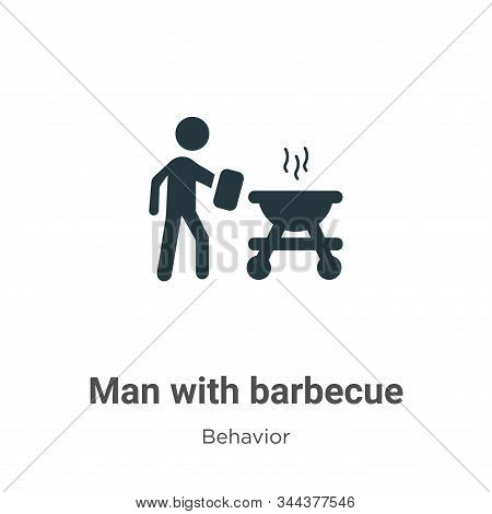 Man with barbecue icon isolated on white background from behavior collection. Man with barbecue icon