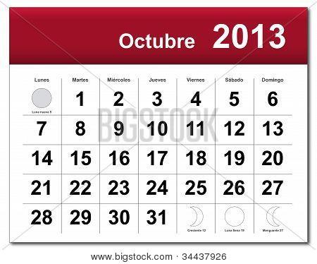 Spanish Version Of October 2013 Calendar
