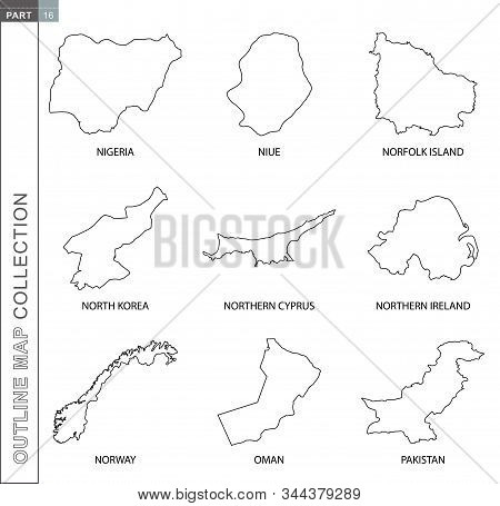 Outline Map Collection, Nine Black Lined Vector Map Of Nigeria, Niue, Norfolk Island, North Korea, N