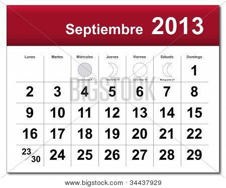 Spanish Version Of September 2013 Calendar