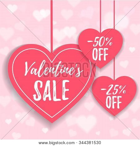 Valentines Day Sale Offer, Banner Template. Pink Heart With Lettering, Isolated On Pink Background.
