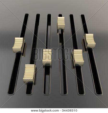 Black mixer panel with golden sliders