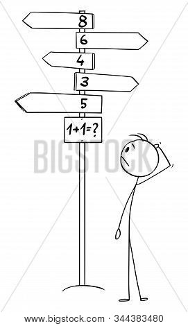 Cartoon Stick Figure Drawing Of Man Standing On Decision Crossroad And Trying To Solve 1 Plus 1 Or O