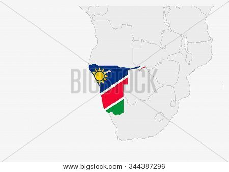 Namibia Map Highlighted In Namibia Flag Colors, Gray Map With Neighboring Countries.