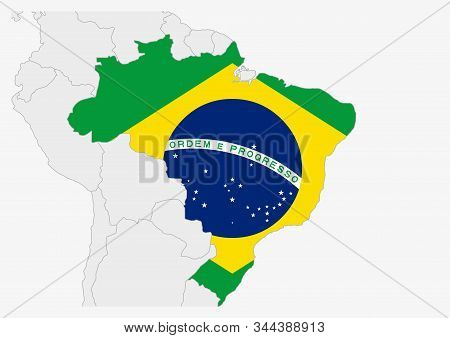 Brazil Map Highlighted In Brazil Flag Colors, Gray Map With Neighboring Countries.