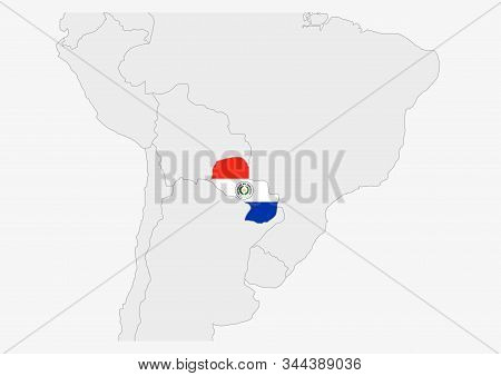 Paraguay Map Highlighted In Paraguay Flag Colors, Gray Map With Neighboring Countries.