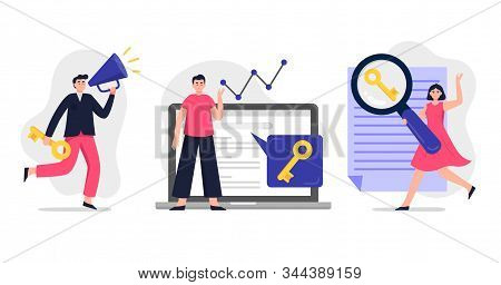 Search Engine Optimization Vector Illustration. Web Developers Team Search For Keywords To Improve W