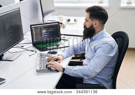 Computer Programmer Developer Working In It Office, Sitting At Desk And Coding, Working On A Project