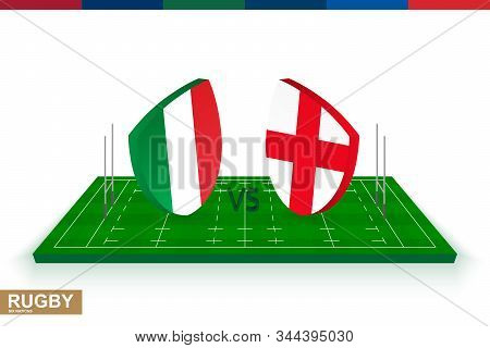 Rugby Team Italy Vs England On Green Rugby Field, Italy And England Team In Rugby Championship.