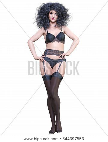 3d Beautiful Sexy Female Legs Black Lingerie And Stockings.woman Studio Photography.high Heel.concep