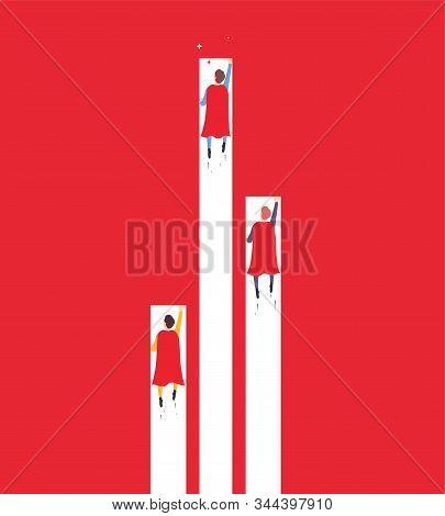 Achievement Goal, Businessman Superhero Flies Up Overtaking Competitors. Minimalistic Concept Of Car