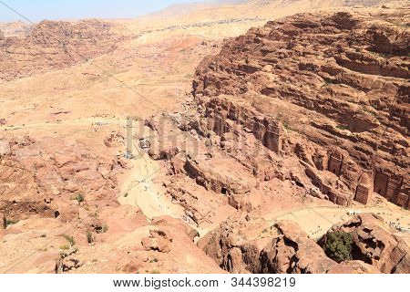 Panorama Of Ancient City Of Petra With Royal Tombs Seen From High Place Of Sacrifice In Jordan