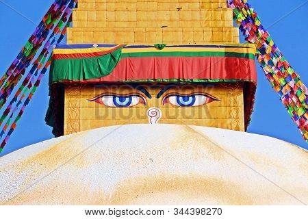 Eyes Of Buddha At Boudhanath Stupa, One Of The Largest Spherical Stupas In In Kathmandu, Nepal