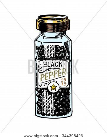 Glass Bottle Of Black Pepper In Vintage Style. Dried Seeds, A Bunch Of Spices. Allspice Or Peppercor