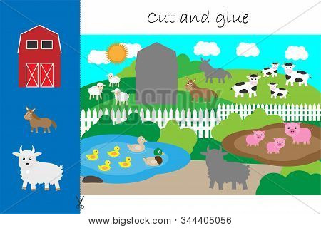 Farm Animals And Barn Cartoon, Education Game For The Development Of Preschool Children, Use Scissor