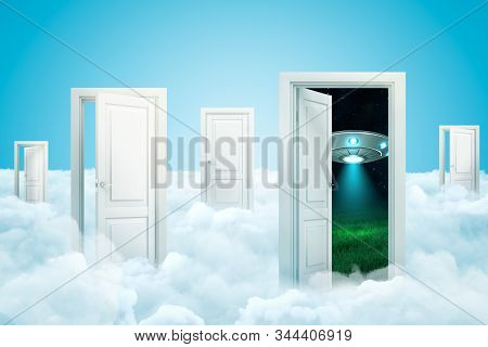 3d Rendering Of White Clouds With Open Doorways And Silver Metal Ufo Behind A Doorway On Blue Backgr