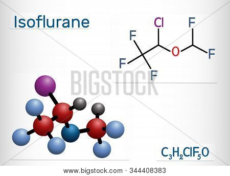 Isoflurane Molecule, Is Inhalation Anesthetic Used For General Anesthesia. Structural Chemical Formu