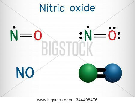 Nitric Oxide, Nitrogen Monoxide, No Molecule. Structural Chemical Formula And Molecule Model
