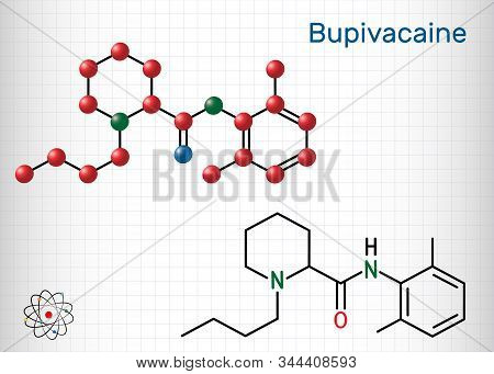 Bupivacaine Molecule, Is An Amide-type, Long-acting Local Anesthetic. Structural Chemical Formula An