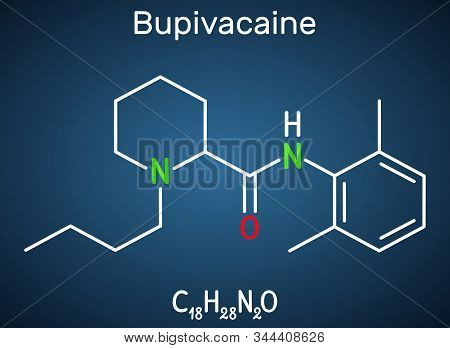 Bupivacaine Molecule, Is An Amide-type, Long-acting Local Anesthetic. Structural Chemical Formula On