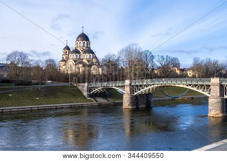 Vilnius, Lithuania - December 16, 2019: Zverynas Bridge At Neris River And Church Of Our Lady Of The