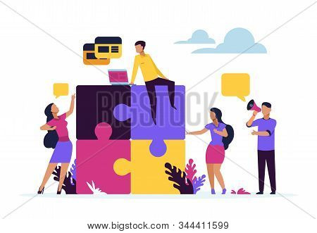 Business Teamwork Concept. Puzzle Elements With Cartoon Business People, Metaphor Of Partnership And