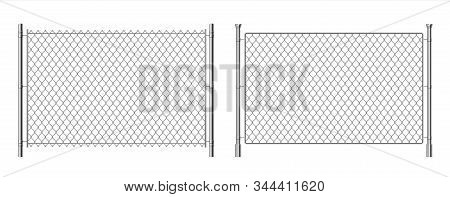 Metal Wire Fence. Realistic 3d Chainlink Background, Prison Security Steel Fence Isolated On White.