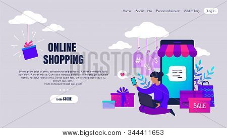 Online Shopping. Cartoon People Characters Making Online Orders And Buying Via Internet, E-commerce