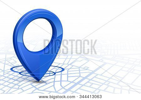 Gps.gps High Tech Icon Blue Color Dropping In Street Map On Whitebackground