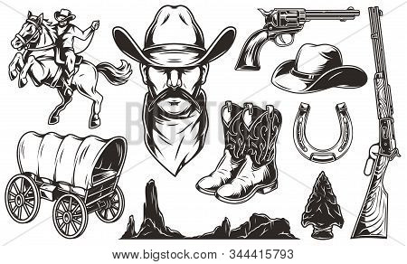 Vintage Wild West Elements Set With Cowboy Head Hat Boots Flint Arrowhead Old Wagon Rifle Gun Horses