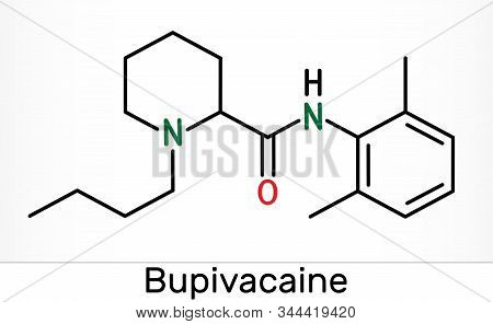 Bupivacaine molecule, is an amide-type, long-acting local anesthetic. Skeletal chemical formula. Illustration poster