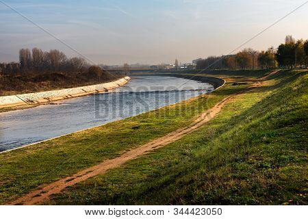 Nisava River On The Outskirts Of The City Of Nis In Serbia, With Walking And Jogging Paths And Parks
