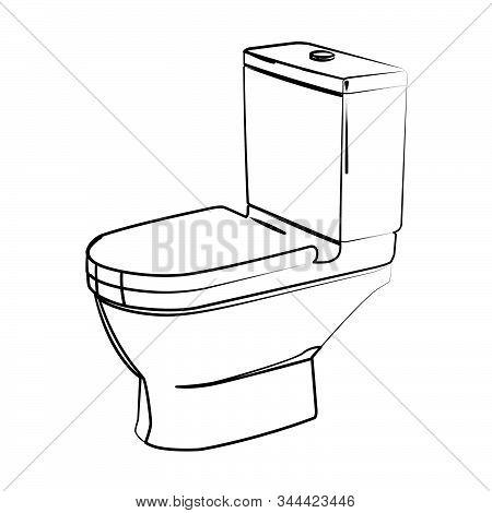Flush Toilet Contour Vector Illustration Realistic Vector Illustration Isolated