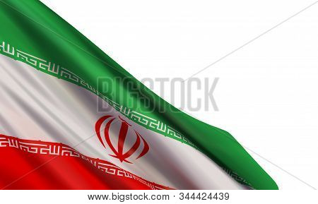 The Realistic Flag Of Iran Isolated On A White Background. Vector Element For Islamic Revolution Day