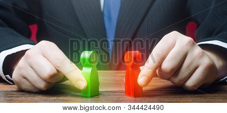 Mediator Organizes A Meeting Negotiations Between Parties Conflict. Truce Agreement. Candidates Poli