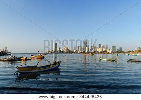 View Of Skyline On Coast Of Worli Neighborhood From Haji Ali Dargah In Mumbai City. India