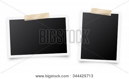 Realistic Blank Photo Card Frame, Film Set. Retro Vintage Photograph With Adhesive Tape. Digital Sna