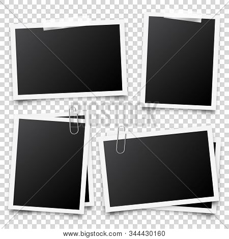 Realistic Blank Photo Card Frame, Film Set. Retro Vintage Photograph With Transparent Adhesive Tape