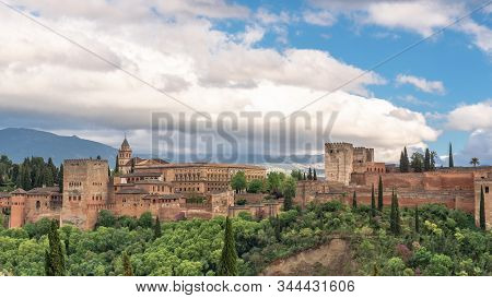 View Of The Alhambra From The Saint Nicolas Sightseeing. Granada, Spain