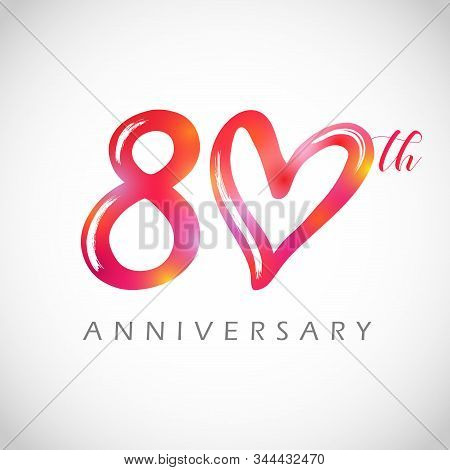80 Years Old Logotype. 80 Th Anniversary Numbers. Decorative Symbol. Congrats In Brushing Style. Iso
