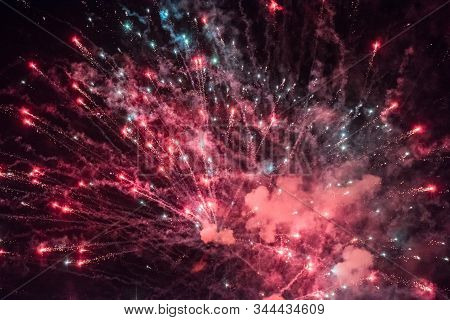 Celebratory Colorful  Fireworks Light Up The Night Sky. Closeup. New Year